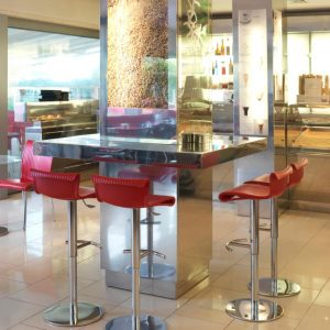 Conte Adjustable Height Bar Stool NZ - Pictured in food court