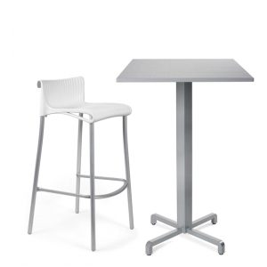 Fiore Indoor / Outdoor Bar Leaner Base, Pictured with Duca Bar Stool