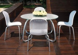 Modern Outdoor Dining Chair NZ - Ninfea (White, pictured with matching Loto Table)