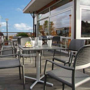 Bora Outdoor Armchair NZ in an Outdoor Cafe Furniture Setting