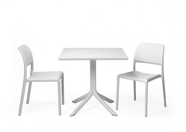 Clip Table and Bora Chair Setting in White