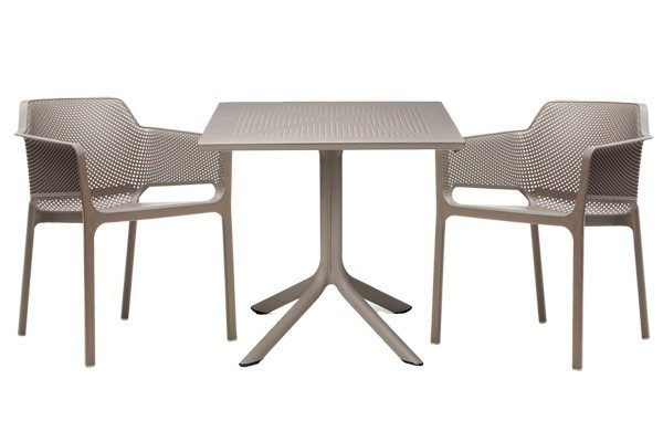 Clip Table and Net Chairs in Taupe