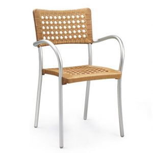 Artica Modern Rattan Cafe Chair - Straw Colour