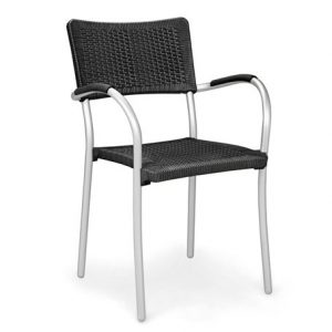 Artica Wicker Cafe Chair - Charcoal