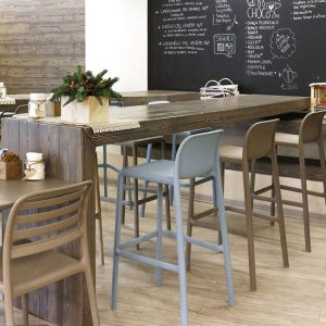 Faro Resin Bar Stool with Costa Chair in Cafe