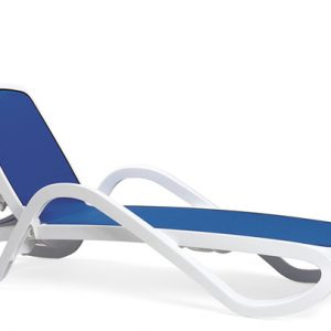 Alfa Sun Lounger / Pool Lounger - White Frame & Blue Fabric