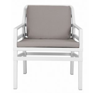 Aria Luxury Patio Armchair - White Frame & Grey Cushion