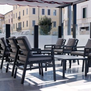 Aria Patio Armchairs in Office Setting