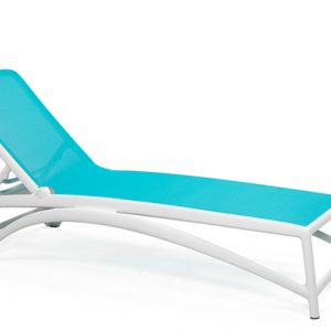 Atlantico Pool Sun Lounger - White Frame & Teal Fabric