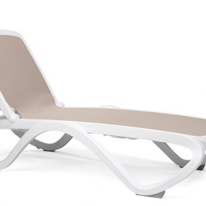 Omega Resort Sun Lounger - White Frame & Taupe Fabric