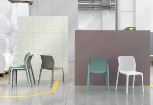 Bit Chairs in White, Taupe & Spearmint - Showroom Photo