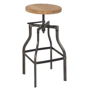 Torque Industrial Bar Stool NZ - Natural Colour Seat (Wood)