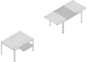 Alloro 140 Extendable Outdoor Dining Table Dimensions & Functionality Diagram (2)