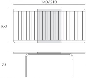 Alloro 140 Extendable Outdoor Dining Table Dimensions & Functionality Diagram