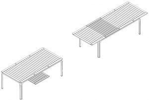 Alloro 210 Extendable Outdoor Dining Table Dimensions & Functionality Diagram (2)