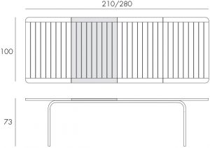 Alloro 210 Extendable Outdoor Dining Table Dimensions & Functionality Diagram