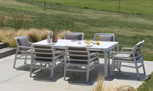 Alloro 210 Extendable in White with Grey Aria Chairs