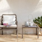 Aria 60 Coffee Table & Aria Chair (Taupe & White)