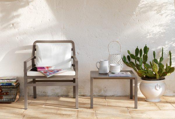 Aria 60 Coffee Table & Aria Chair (Taupe & White)