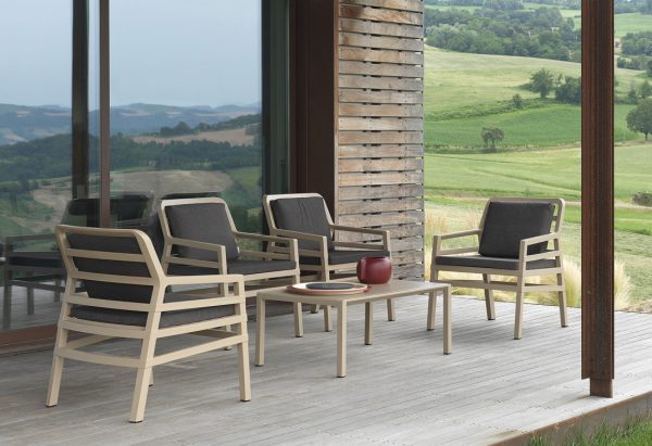 Aria Patio Setting – Aria 100 Coffee Table with Aria Chairs in Havana Colour