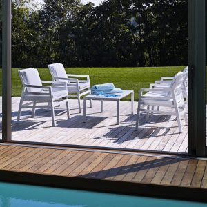 Aria Patio Setting - Aria 100 Coffee Table with Aria Chairs in White Colour
