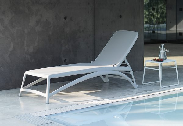 Atlantico Sun Lounger & Pop Side Table (White)