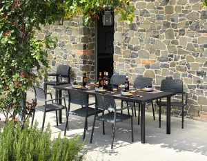 Libeccio 160 Extendable Table & Bora Arm Chairs (Charcoal)