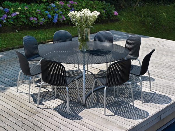 Loto Ø170 Dining Set (Loto Ø170 Dining Table & Ninfea Chairs) – Charcoal Colour
