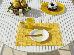 Loto Outdoor Dining Set - White (Close up on Table)