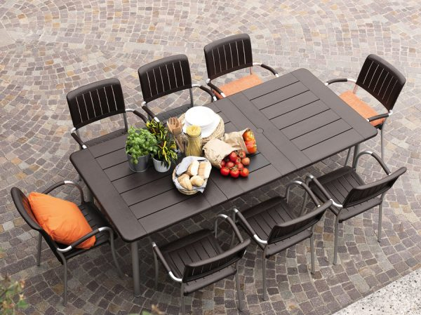 Maestrale 9 Piece Outdoor Dining Setting – Coffee Colour