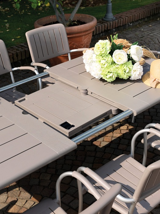 Maestrale 9 Piece Outdoor Dining Setting (Taupe) – Maestrale Table Extendable Mechanism