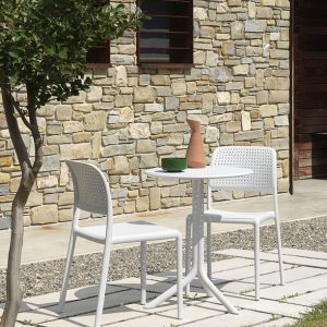 Step Table & Bora Bistro Chairs - White
