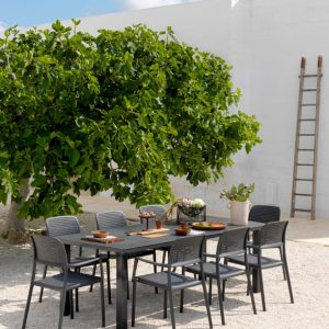 Levante 160 Extendable Setting with Bora Chairs - Charcoal