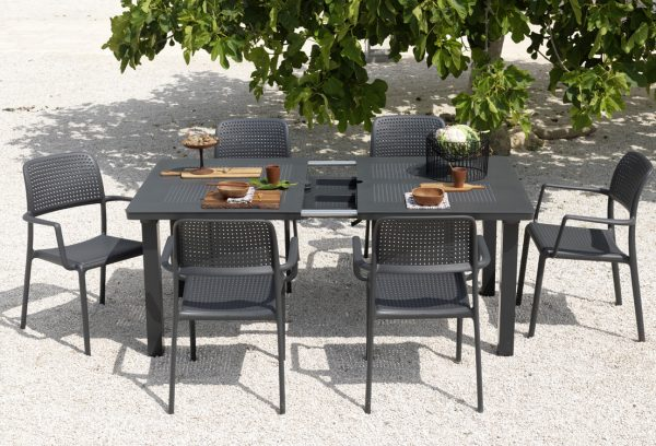 Levante 160 Extendable Setting with Bora Chairs – Charcoal (Showing Extending Mechanism)