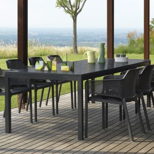Net Chairs with Rio Extendable Outdoor Dining Table - Charcoal