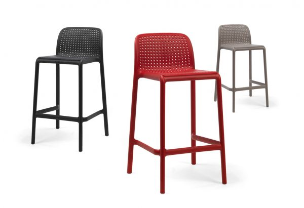Lido Counter Height Bar Stools – Red, Charcoal & Taupe